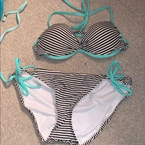 black who're and mint green bikini
